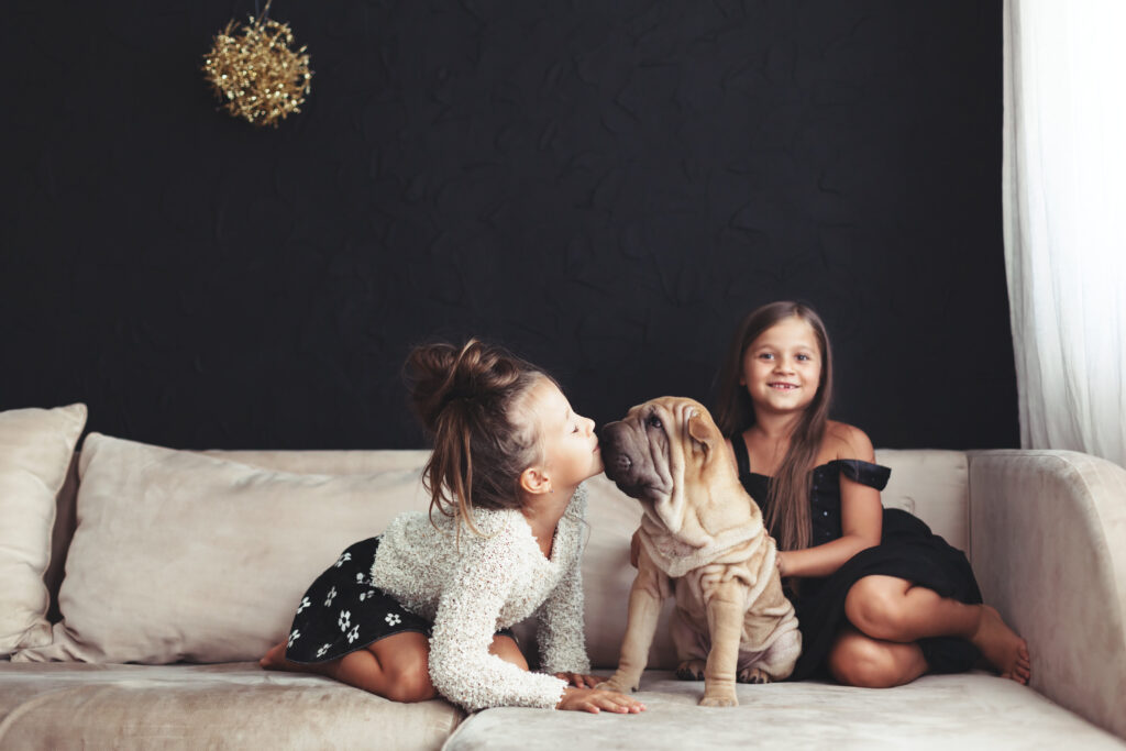 two kids and their mastiff puppy, there's something enchanting about a wrinky puppy, don't you think?!